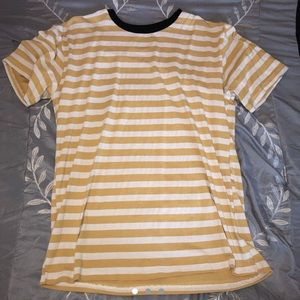 yellow and white striped shirt with black lining